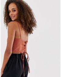 Top corto naranja con espalda a tiras New Look de color Orange