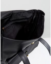 ASOS Asos Backpack In Black Faux Leather With Fold Over Top for men
