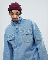 ASOS Denim Overhead Jacket In Blue Wash for men