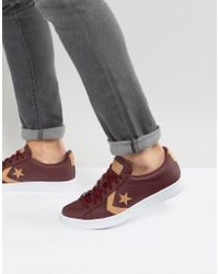 Converse Leather Pl 76 Ox Trainers In Red 155665c for Men - Lyst