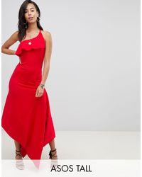 ASOS DESIGN Tall - Vestito skinny lungo minimal allacciato al collo di ASOS in Red
