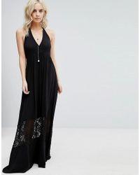 Boohoo Black Lace Insert Maxi Dress