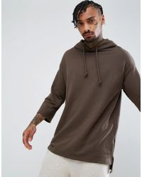 Bershka Green Hooded Sweatshirt With 3/4 Sleeve In Khaki for men
