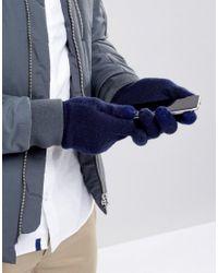 Gants en maille côtelée pour écran tactile French Connection pour homme en coloris Blue