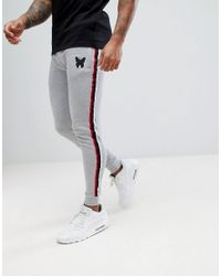 Good For Nothing Gray Skinny Joggers In Grey With Taping for men