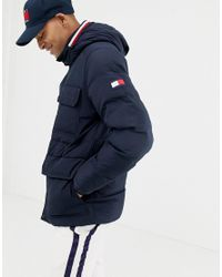 Tommy Hilfiger Blue Down Hooded Puffer Jacket In Navy for men