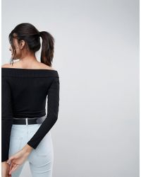 ASOS - Black Going Out Slash Neck Bardot Long Sleeve Top - Lyst
