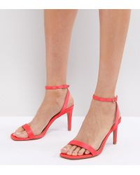 99fcf9d713d9 Lyst - ASOS Asos Half Time Barely There Heeled Sandals in Pink