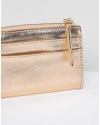 ALDO - Metallic Nydiling Rose Gold Zip Wallet - Lyst