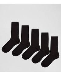 ASOS Socks In Black 5 Pack for men