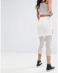 PRETTYLITTLETHING - White Fishnet Floral Applique Midi Skirt - Lyst