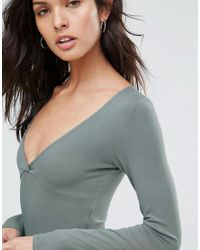 ASOS Green Body With Plunge Neck Long Sleeve And Thong