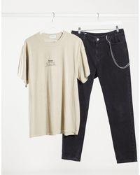 """T-shirt con stampa """"Paris"""" grigio pietra di Topman in Multicolor da Uomo"""