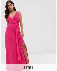 Vestido largo y cruzado estilo camisola con cola TFNC London de color Pink