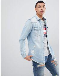 Pull&Bear Rip And Repair Regular Fit Denim Shirt In Light Blue for men