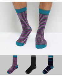 Set regalo da 3 paia di calzini a righe di Ted Baker in Blue da Uomo