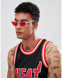 ASOS Angled Cat Eye Sunglass In Clear With Red Lens for men