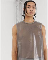 T-shirt comoda senza maniche con giromanica ampio trasparente nera di ASOS in Black da Uomo