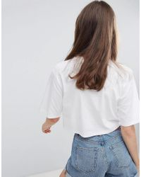 Monki Cropped Classic T-shirt In White