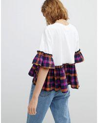 Reclaimed (vintage) - White Inspired T-shirt With Peplum Hem - Lyst