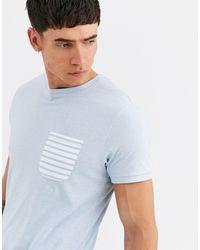 Threadbare Blue Organic Cotton Pocket T-shirt for men