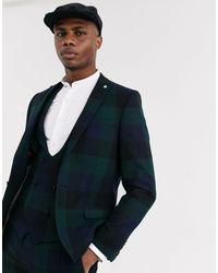 Twisted Tailor – Ashby – Extrem enge Anzugsjacke mit grünen Block-Karos in Green für Herren