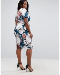 ASOS - Wiggle Dress In Blue Floral Print - Lyst