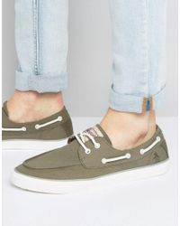 Original Penguin Green Canvas Boat Shoes for men