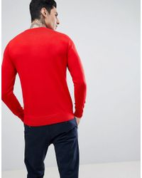 PS by Paul Smith Merino Crew Neck Jumper In Red for men