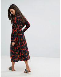 Suncoo Multicolor Clio Floral Shirt Midi Dress