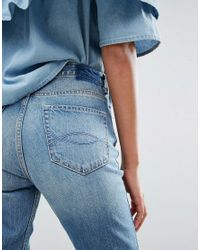 Abercrombie & Fitch Blue Cropped Girlfriend Jeans