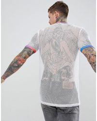 T-shirt décontracté long en maille avec encolure et bordures arc-en-ciel ASOS pour homme en coloris White