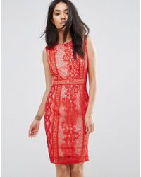 c04e083d09 AX Paris Red Lace Bodycon Dress in Red - Lyst