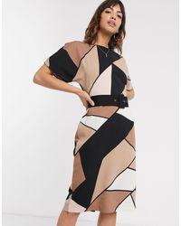 Платье В Стиле Колор Блок Бежевого Цвета С Поясом -мульти Warehouse, цвет: Natural