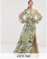 Vestido largo amplio con estampado floral para ocasiones especiales ASOS de color Green