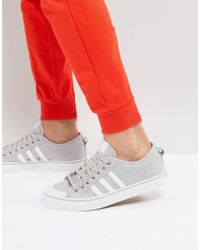 adidas Originals Leather Nizza Lo Trainers In Grey Bz0498 in Gray ...