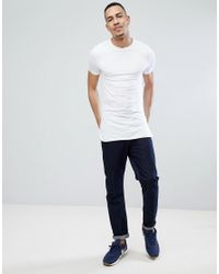 ASOS Tall Super Longline Muscle Fit Long Sleeve T-shirt With Curved Hem In White for men