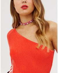 ASOS Pink Choker Necklace With Crystal Studs