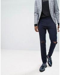 ASOS Gray Asos Super Skinny Smart Pants With Knee Splits for men