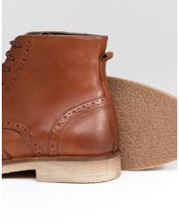 ASOS Brown Lace Up Brogue Boots In Tan Leather With Natural Sole for men