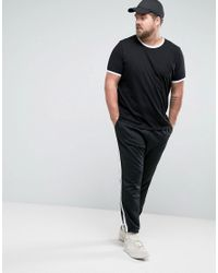 ASOS - Black Plus T-shirt With Contrast Ringer for Men - Lyst