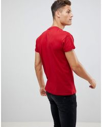 New Look Red T-shirt With Roll Sleeve for men