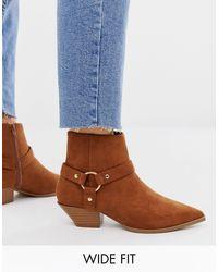 Aidan - Bottes larges western style harnais - Fauve ASOS en coloris Brown