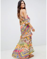 ASOS Multicolor Cuban Tile Print Off Shoulder Bardot Frill Maxi Beach Dress