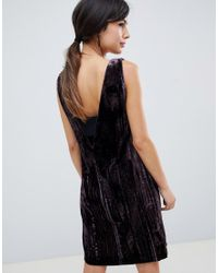 French Connection - Purple Theresa Velvet Mini Dress - Lyst