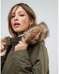 Bellfield Green Fontone Cotton Twill Parka With Faux Fur Trim