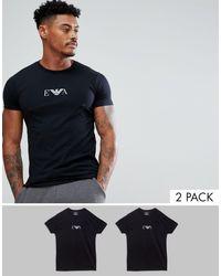 Emporio Armani – Loungewear – 2er-Pack T-Shirts in Black für Herren