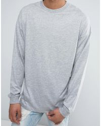 ASOS - Gray Oversized Long Sleeve T-shirt With Cuff In Grey Marl for Men - Lyst
