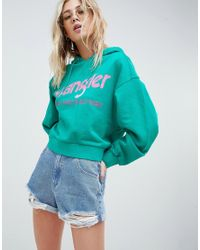 Wrangler Green Cropped Hoody With Logo