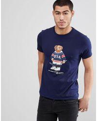 b6f0fad81f2cbf Polo Ralph Lauren Vintage Hockey Bear Print T-shirt In Navy in Blue ...